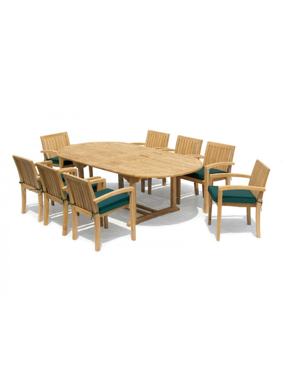 Ascot Dining Set 8 Seat Extendable, Modern Outdoor Dining Sets For 8